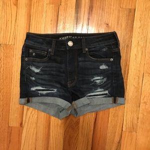 AE high rise denim shorts